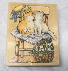 Penny Black cats on chair rubber stamp cat theme 1467K Purrr-fect Time flowers #PennyBlack #Cats