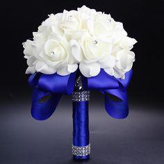 Elegant Royal Azul Fucsia Púrpura Rojo Rosa Artificial Ramo de Flores de Novia de la Novia Ramo de La Boda de Cristal de la Cinta de Seda