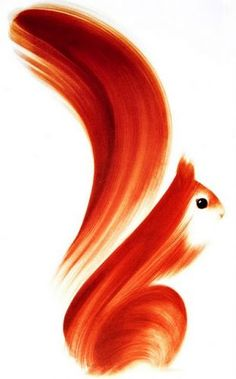 ink squirrel - this would be fun to try & smear paint and create objects/animals from them.