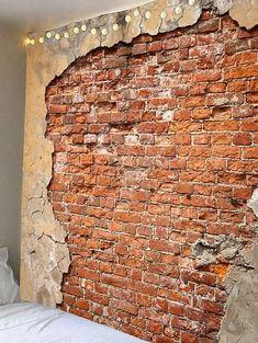 Photo Gallery - Rotten Brick Wall and Crumbled Plaster Print Tapestry Old Brick Wall, Faux Brick Walls, Old Wall, Cheap Wall Tapestries, Tapestry Wall Hanging, Bricks For Sale, Break Wall, Brick Interior, Dorm Room Walls
