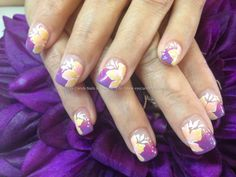 Purple+and+pink+marbled+tips+with+one+stroke+flower+nail+art