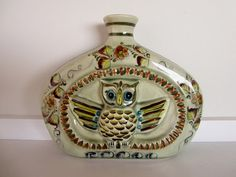 Vintage Mexican Owl Handpainted Ceramic Bottle or by candly