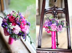 bright pink and purple wedding flowers #flowers #weddings #bouquets