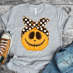 Pumpkin face svg, SVG, DXF, halloween svg, pumpkin svg, jack o lantern svg, svg files for cricut, svg halloween, bandana svg, girl halloween Halloween Shirt, Fall Halloween, Halloween Fashion, Funny Halloween, Pumpkin Faces, Personalized T Shirts, Silhouette, Halloween Pumpkins, Spooky Pumpkin