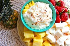 Pina Colada dip  @Kacie Brown-this is like mom's fruit dip, but with crushed pineapple & coconut instead of cinnamon & nutmeg