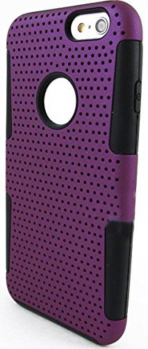"""myLife 2 Layer Neo Hybrid Bumper Case for iPhone 6 Plus (5.5"""" Inch) by Apple {Luxury Black + Plum Purple """"Perforated Mesh Net"""" Two Piece SECURE-Fit Rubberized Gel} myLife Brand Products http://www.amazon.com/dp/B00PT3PAEO/ref=cm_sw_r_pi_dp_Pd2Cub141X4SZ"""