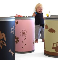 pom pom uk recycled cardboard containers (drums) for toy storage
