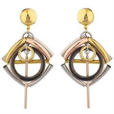 Laruicci Evil❤️ Eye Earrings Mixed metal brass tubing with hoop and stick details mixed colors and light in weigh width: 2 inches length: 3 inches Made by Laruicci In NYC as seen in Allure Magazine