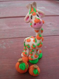 *SORRY, no information given as to product used ~ A giraffe dressed with Pumpkin spots by claykeepsakes, via Flickr