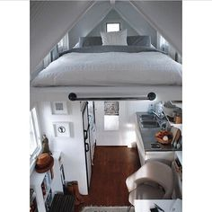 Amazing idea for apartments that are tiny, but with a spacious area on top