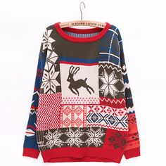 Crew Neck Christmas deer Sweater Gray