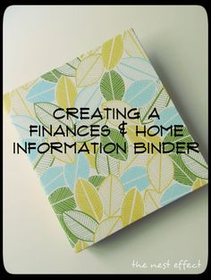 Finances & Home Information Binder