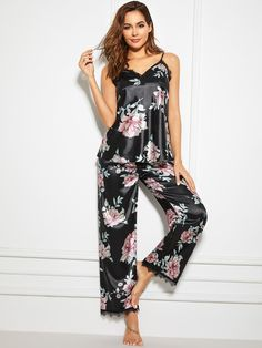 To find out about the Floral Print Lace Trim Satin Cami PJ Set at SHEIN, part of our latest Pajama Sets ready to shop online today! Pyjama Satin, Satin Sleepwear, Sleepwear Sets, Nightwear, Pijamas Women, Satin Cami, Silk Satin, Moda Casual, Silk Pajamas