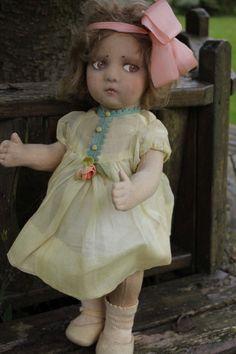 "Lenci fabulous felt  20"" doll early mask face 1920s original child"