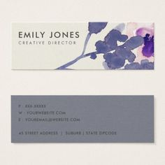 PURPLE PINK BLUE INK WASH WATERCOLOR FLORAL MINI BUSINESS CARD