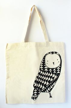 Owl Tote Bag  Black by Gingiber on Etsy, $18.00