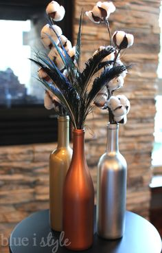 Metallic Wine Bottle Vases - quick and easy!