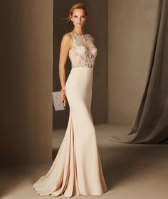 BOSNIA Beads Embellished Long Fitted Cocktail Dress by Pronovias 2017