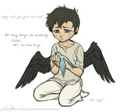 Fledgling Cas learns the hard lessons about mortality. I'm sorry, I just love his baby wings.