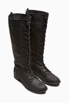 Buy Black Lace-Up Long Boots from the Next UK online shop