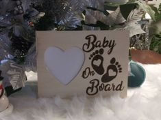 Baby On Board Birth Announcement Rustic Engraved Wood Heart Picture Photo Frame