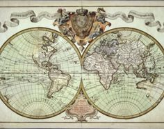 Hand painted old world map antique globe map matted 16x20 old world map historical maps antique world map by mapsandposters gumiabroncs Gallery