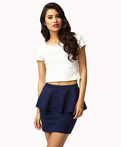 Dark Blue peplum skirt: forever 21-I want I need.:) Perfect for a party,date or going out♥