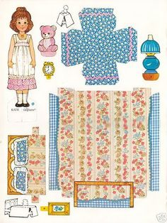 Gingham girl paper doll and bed by Kathleen Taylor's Dakota Dreams Paper Doll House, Paper Houses, Paper Furniture, Doll Furniture, Paper Toys, Paper Crafts, Paper Dolls Printable, Holly Hobbie, Vintage Paper Dolls