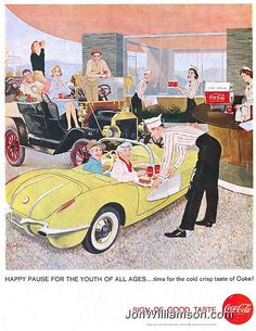 Love the yellow convertible - Coca Cola ad 1958