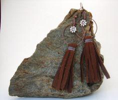 Fringe Leather Dangle Earrings Boho by NopalitoVintageMore on Etsy