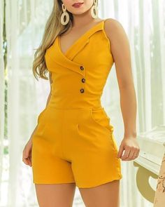 Solid Spaghetti Strap Buttoned Romper – bodyconest romper and tights,romper casual,romper style Plus Size Jumpsuit, Short Jumpsuit, Casual Jumpsuit, Jumpsuit Shorts, Romper Outfit, Trend Fashion, Womens Fashion, Cali Fashion, Classy Outfits
