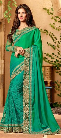196544 Green  color family Embroidered Sarees, Party Wear Sarees in Net, Satin fabric with Lace, Machine Embroidery, Resham, Thread, Zari work   with matching unstitched blouse.