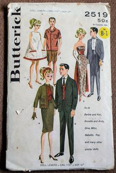 Vintage 1960s Butterick 2519 Fashion Doll Clothing Sewing Pattern Six looks including beach coverup, mens shirt and bermuda shorts, gown and tuxedo, sport coats and slacks and skirt.  Pattern is partially cut and complete with instructions. Envelope is in fair condition with some