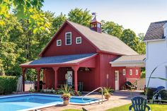 Rear of Newport Barn Garage with Breezeway Attachment and Overhang. Love that the garage looks like a barn! Pole Barn Garage, Pole Barn House Plans, Pole Barn Homes, Barn Plans, Garage Plans, Garage Ideas, Garage Doors, Carport Ideas, Garage Exterior