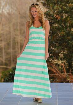 The Longest Story Maxi Dress-Mint - $42.00