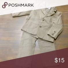 👦🏻Cherokee 3t tan suit vguc Adorable tan suit. Well made. Jacket lined. Adjustable waist.    All items come from clean smoke and pet free home. Check out my other Kloset for men's and women's clothing and accessories @keeperskloset88 Cherokee Matching Sets