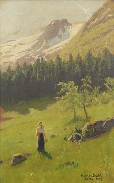 Hans Dahl (Norwegian, 1849-1937) Girl in a meadow with snow-capped mountains beyond. signed and dated 'Hans Dahl/ 20 Mai 1919' (lower right) (39 x 25cm)