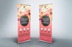 Flower Roll-Up Banner - by NEXDesign on Creative Market - Templates Engine Pull Up Banner Design, Pop Up Banner, Roll Up Design, Banner Template, Flyer Template, Standee Design, Event Banner, Food Banner, Letterhead Template