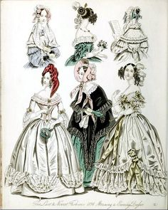 The World of Fashion and Continental Feuilletons 1838 Plate 17 by CharmaineZoe, via Flickr