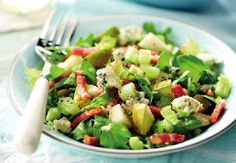 Pear, Celery and Rocket Salad - with Danish Blue Cheese and warm #Pancetta #FreshProduce #Recipe