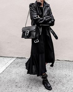 """Aritzia on Instagram: """"We'll stop wearing black when they invent a darker colour. - @figtny wears the Lennon Leather Biker Jacket by Wilfred Free - #aritzia…"""""""