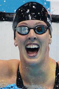 US swimmer Allison Schmitt celebrates after winning the women's 200m freestyle
