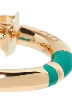 Aurélie Bidermann - Positano Enameled Gold-plated Hoop Earrings - one size