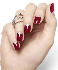 Red half moon, reverse French nails
