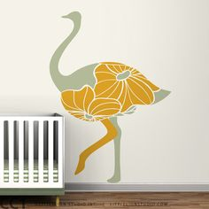 Kids wall decal silhouette bird big floral by LeoLittleLion, $92.00
