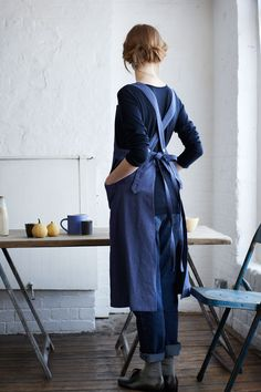 Blue tie apron back | Toast HouseandHome - AW13 October 81 / 103 - Photograph by Nicholas James Seaton