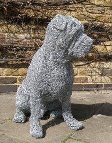 Wire sculptured dog Chicken Wire Art, Chicken Wire Sculpture, Dog Sculpture, Outdoor Sculpture, Wire Sculptures, Animal Sculptures, Dog Art, Metal Art, Wire Crafts
