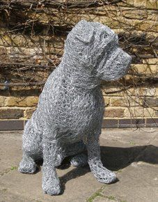 Wire sculptured dog