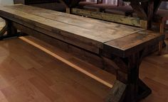 Rustic Trestle Bench Under The Table, Trestle Table, Entryway Tables, Bench, Woodworking, Rustic, Storage, Room, Furniture