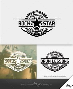 Drum Rock Star Logo  -  EPS Template • Only available here! ➝ https://graphicriver.net/item/drum-rock-star-logo/10707254?ref=pxcr
